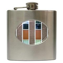 Pattern Symmetry Line Windows Hip Flask (6 oz)