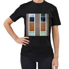 Pattern Symmetry Line Windows Women s T Shirt (black) (two Sided)