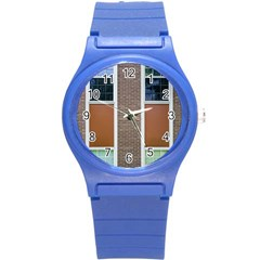 Pattern Symmetry Line Windows Round Plastic Sport Watch (S)