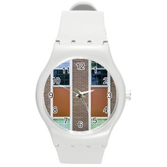 Pattern Symmetry Line Windows Round Plastic Sport Watch (m)