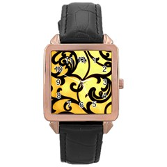 Texture Pattern Beautiful Bright Rose Gold Leather Watch