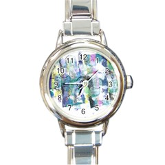 Background Color Circle Pattern Round Italian Charm Watch