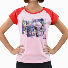 Background Color Circle Pattern Women s Cap Sleeve T Shirt