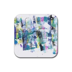 Background Color Circle Pattern Rubber Coaster (Square)