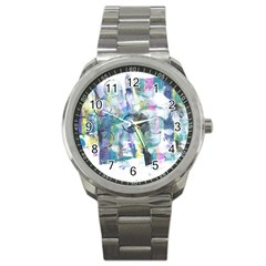 Background Color Circle Pattern Sport Metal Watch