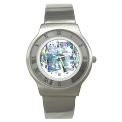 Background Color Circle Pattern Stainless Steel Watch