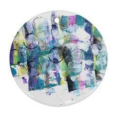 Background Color Circle Pattern Round Ornament (two Sides)