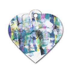 Background Color Circle Pattern Dog Tag Heart (two Sides)