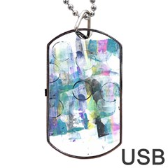 Background Color Circle Pattern Dog Tag USB Flash (One Side)