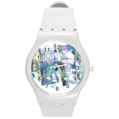 Background Color Circle Pattern Round Plastic Sport Watch (M)