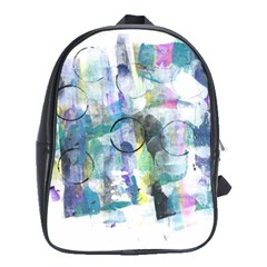 Background Color Circle Pattern School Bags (XL)