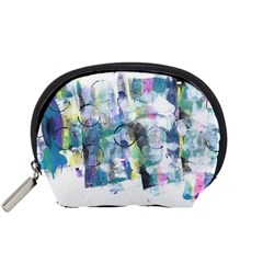 Background Color Circle Pattern Accessory Pouches (small)