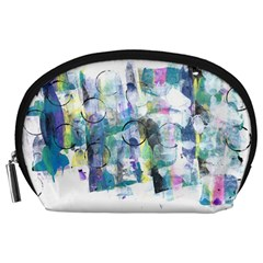 Background Color Circle Pattern Accessory Pouches (large)