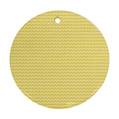 Pattern Yellow Heart Heart Pattern Ornament (round)