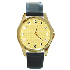 Pattern Yellow Heart Heart Pattern Round Gold Metal Watch