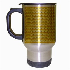 Pattern Yellow Heart Heart Pattern Travel Mug (Silver Gray)
