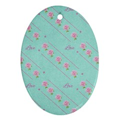 Flower Pink Love Background Texture Ornament (Oval)