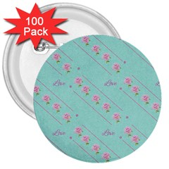 Flower Pink Love Background Texture 3  Buttons (100 Pack)