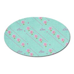 Flower Pink Love Background Texture Oval Magnet