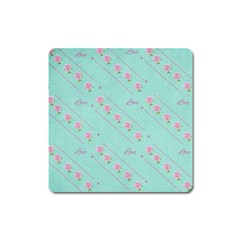 Flower Pink Love Background Texture Square Magnet