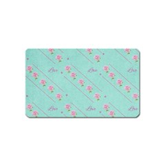 Flower Pink Love Background Texture Magnet (Name Card)