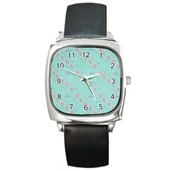 Flower Pink Love Background Texture Square Metal Watch