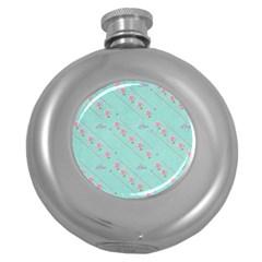 Flower Pink Love Background Texture Round Hip Flask (5 oz)