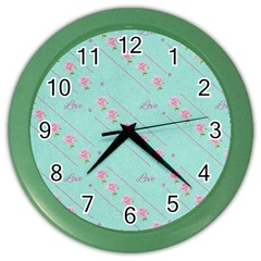 Flower Pink Love Background Texture Color Wall Clocks