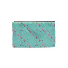 Flower Pink Love Background Texture Cosmetic Bag (Small)