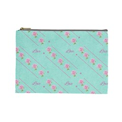 Flower Pink Love Background Texture Cosmetic Bag (large)