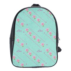 Flower Pink Love Background Texture School Bags(Large)