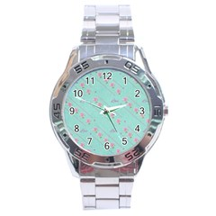 Flower Pink Love Background Texture Stainless Steel Analogue Watch