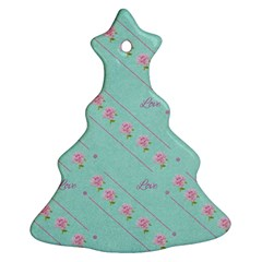 Flower Pink Love Background Texture Christmas Tree Ornament (Two Sides)