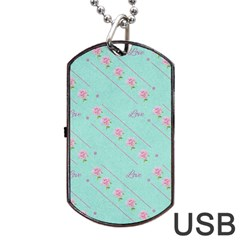 Flower Pink Love Background Texture Dog Tag Usb Flash (two Sides)