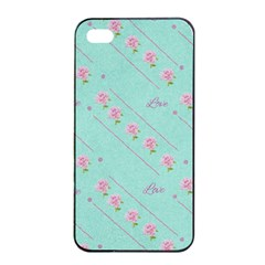 Flower Pink Love Background Texture Apple iPhone 4/4s Seamless Case (Black)
