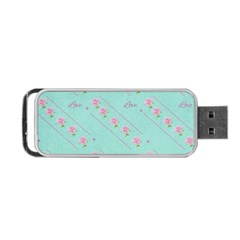 Flower Pink Love Background Texture Portable USB Flash (One Side)
