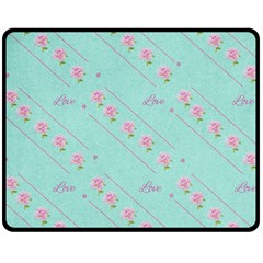 Flower Pink Love Background Texture Double Sided Fleece Blanket (Medium)