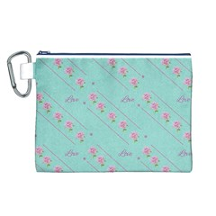 Flower Pink Love Background Texture Canvas Cosmetic Bag (L)