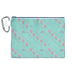 Flower Pink Love Background Texture Canvas Cosmetic Bag (XL)