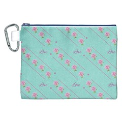 Flower Pink Love Background Texture Canvas Cosmetic Bag (xxl)