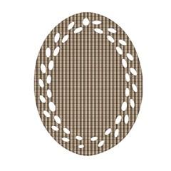Pattern Background Stripes Karos Oval Filigree Ornament (two Sides)