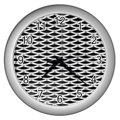 Expanded Metal Facade Background Wall Clocks (Silver)
