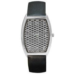Expanded Metal Facade Background Barrel Style Metal Watch