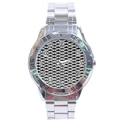 Expanded Metal Facade Background Stainless Steel Analogue Watch