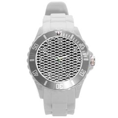 Expanded Metal Facade Background Round Plastic Sport Watch (l)