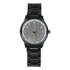 Expanded Metal Facade Background Stainless Steel Round Watch