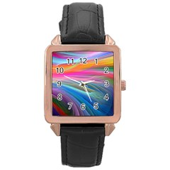 Rainbow Feather Rose Gold Leather Watch