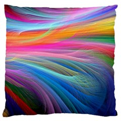 Rainbow Feather Large Flano Cushion Case (Two Sides)