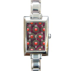 Abstract Circle Gem Pattern Rectangle Italian Charm Watch