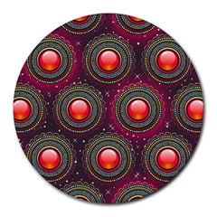 Abstract Circle Gem Pattern Round Mousepads